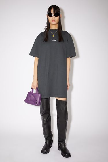 Acne Studios black casual t-shirt dress is made of cotton with an Acne Studios logo at the centre front.