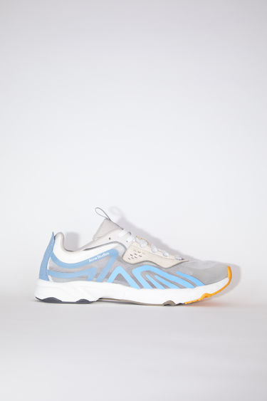 Acne Studios white/blue/orange lightweight lace-up sneakers are lined in mesh.