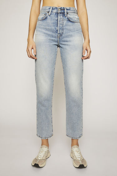 Acne Studios Mece Light Blue Trash jeans are crafted from rigid denim that's stonewashed to give a time-worn appeal. They're shaped to sit high on the waist before falling into cropped, straight legs.