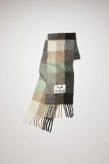 Acne Studios green/grey/black fringed scarf is woven in multi check pattern and detailed with a logo patch.