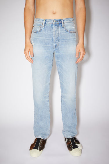 Acne Studios light blue jeans are made from from rigid denim with a high rise and a straight leg.
