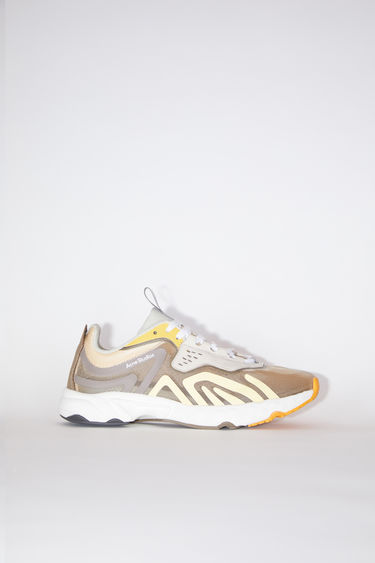 Acne Studios beige/beige/orange lightweight lace-up sneakers are lined in mesh.