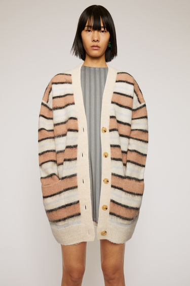Acne Studios old pink/multi striped cardigan is crafted to oversized silhouette from an alpaca-wool blend and features a deep v-neck.