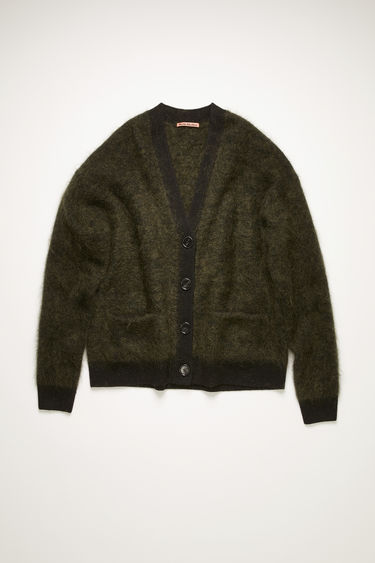 Acne Studios black/olive cardigan is knitted from brushed mohair-blend to a relaxed shape and finished with clean, ribbed edges along the placket, hem and cuffs.
