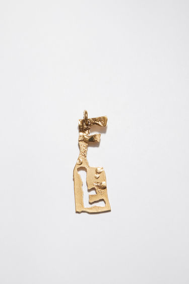 Acne Studios pendant is crafted from a hammered gold-tone brass and features a stencil of the letter 'F'  The pendant can be personalised with a chain necklace.