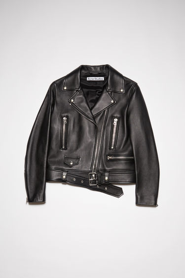 Acne Studios Mock black jacket is crafted from soft lamb leather to a comfortable, slim fit, and features traditional peak lapels, multiple zip pockets and a broad-belted waist.