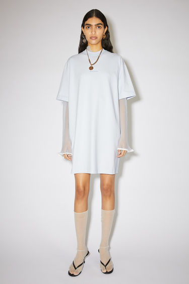 Acne Studios pale blue casual t-shirt dress is made of cotton with an Acne Studios logo at the centre front.