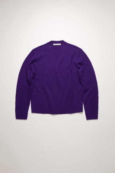 Acne Studios deep purple sweater is knitted with soft wool and cashmere-blend yarns that's brushed by hand to create a pilled texture, then finished with ribbed cuffs, collar and hem.