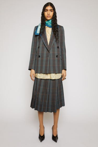 Acne Studios blue/orange suit jacket is crafted to a boxy silhouette from a checked wool-blend and has lightly padded shoulders, peak lapels and a double-breasted front.