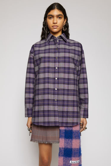 Acne Studios purple/yellow checked shirt is cut to a relaxed silhouette with dropped shoulders and has a point collar and a slightly longer back hem.
