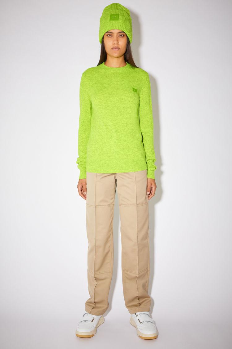 ACNE STUDIOS Wool crew neck sweater Neon green