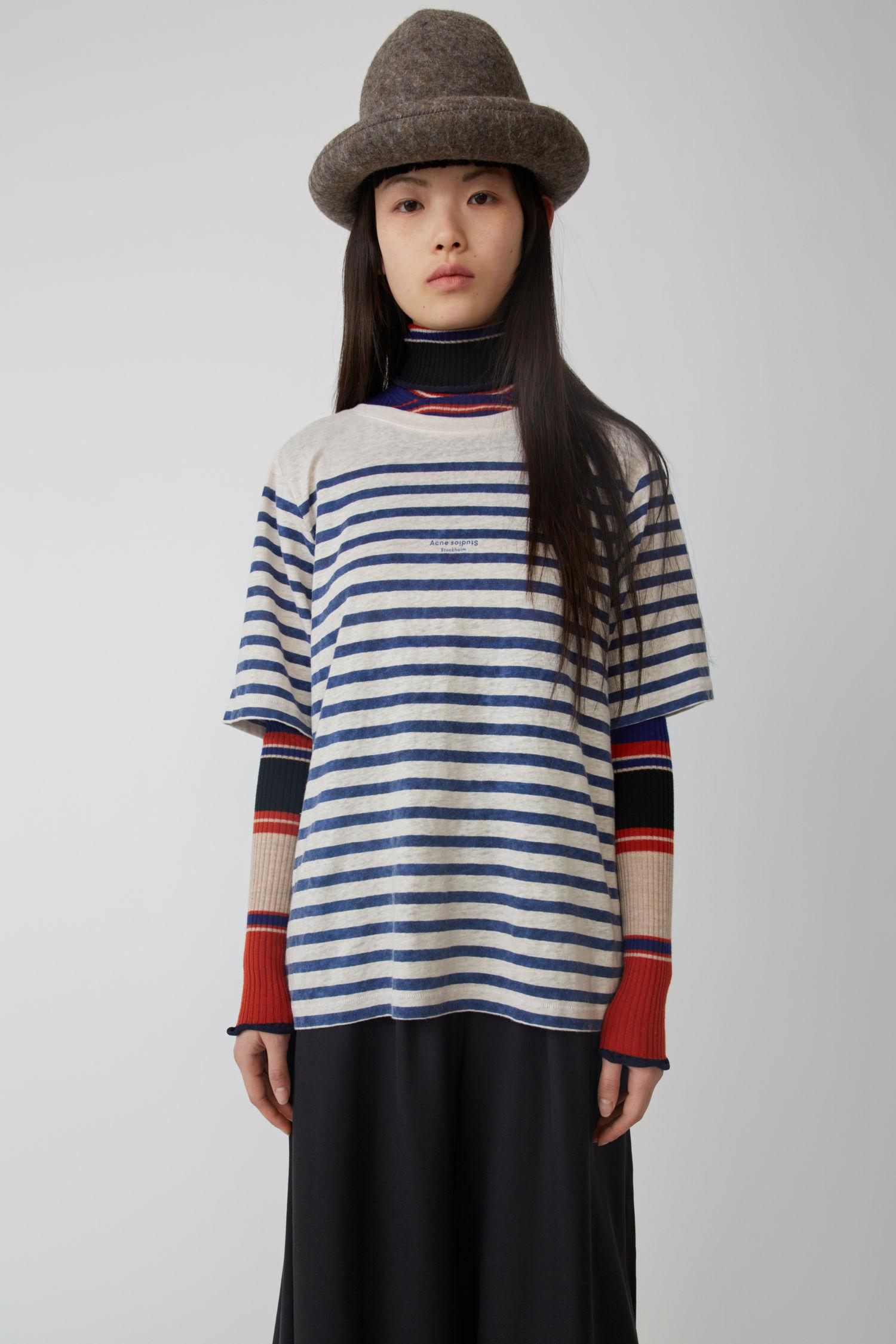 ACNE STUDIOS Striped linen t-shirt white/blue