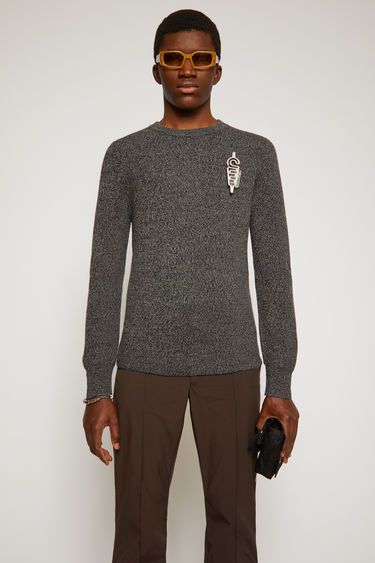 Acne Studios multi anthracite sweater is knitted from fine-gauge merino wool with a melange finish and neatly shaped with a crew neck.