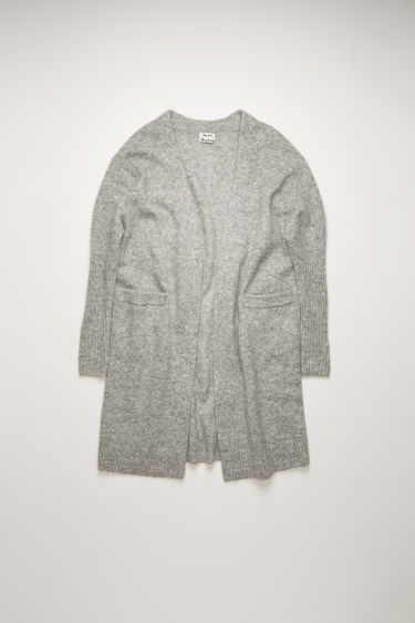 Acne Studios Raya Mohair cold grey melange cardigan is shaped to a loose silhouette and feature rib-knit pattern on the sleeves and hem.
