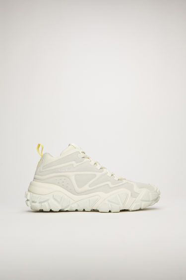 Acne Studios Bolzter Bensen M white/white sneakers are crafted to a high-top silhouette from mesh with faux-suede overlays, and set on chunky rubber tread soles.