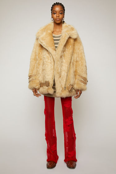 Acne Studios wheat beige/cream beige oversized fur jacket with a boxy fit inspired by a classic aviator style.