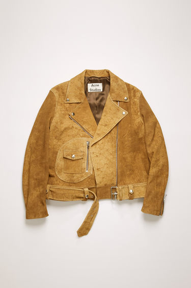 Acne Studios antique brown suede jacket is crafted to a classic biker silhouette and inflected with hand-distressed abrasions for a well-worn effect. It features traditional peak lapels, a broad-belted waist and a D-shaped front pocket.
