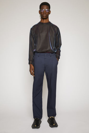 Acne Studios dark blue cotton twill trousers are cut a straight-leg fit and finished with wide belt loops and patch pockets.