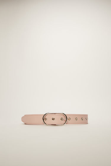 Acne Studios pale pink belt is crafted from smooth leather with tonal topstitching and secured with an oval metal buckle.