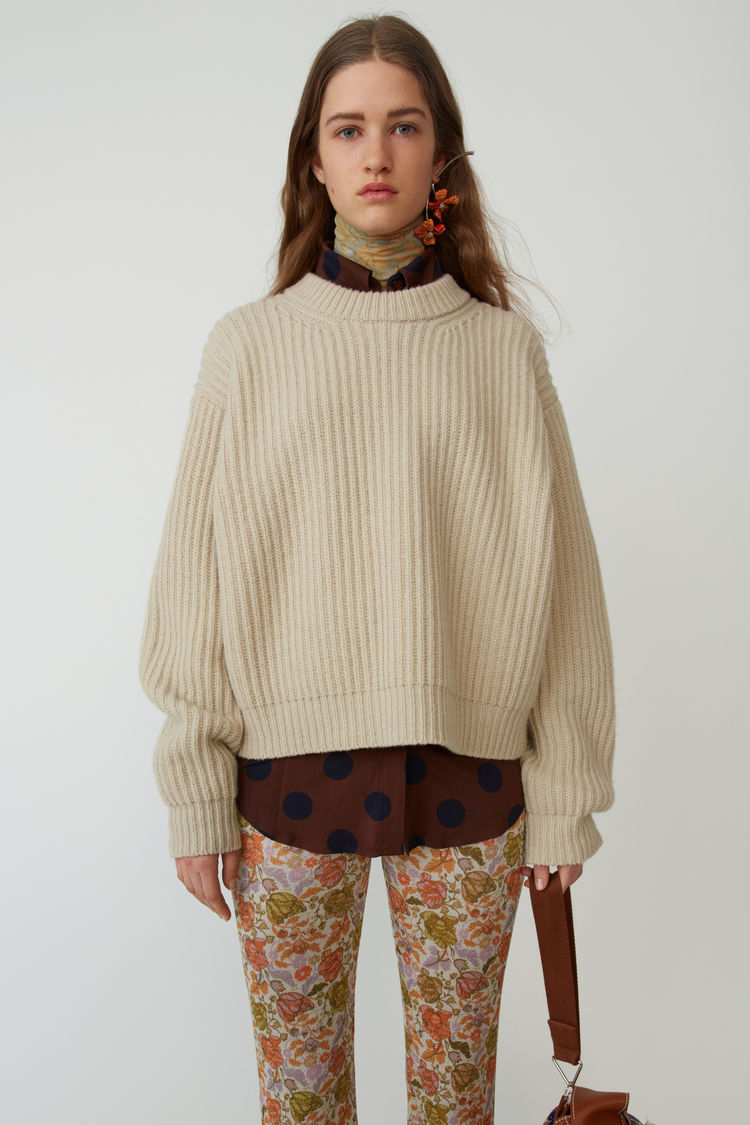 Boxy Crewneck Sweater Cold Beige by Acne Studios