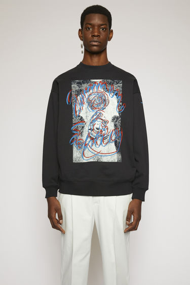 Acne Studios black sweatshirt is crafted from loopback jersey to an oversized fit and printed 'Summer Solstice' in a handwritten-style.