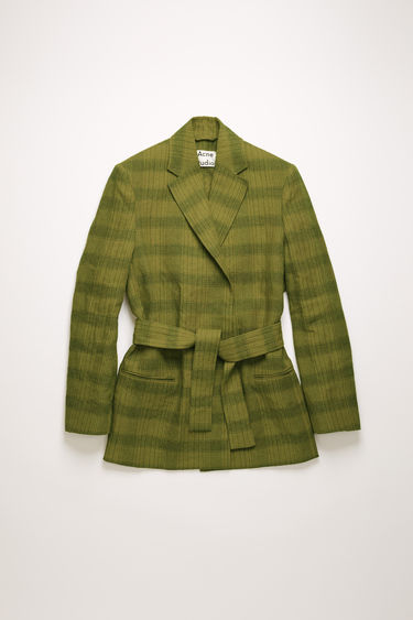 Acne Studios green/grey suit jacket is crafted from a linen blend with checks and features a concealed double-breasted placket and a matching tie belt.