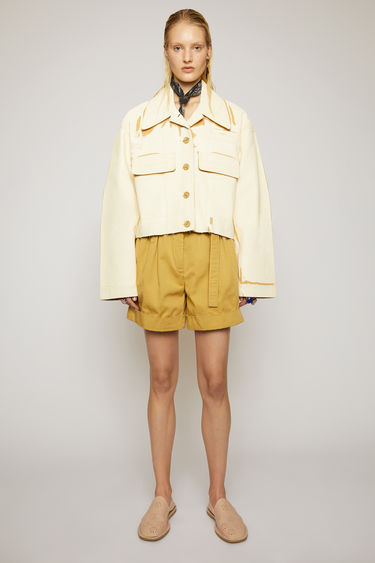 Acne Studios almond beige jacket is crafted from hand-painted cotton twill to an oversized silhouette and features a centre button-down closure and two flap pockets. Each garments are individually painted, therefore the colour and appearance may differ�slightly from the image.