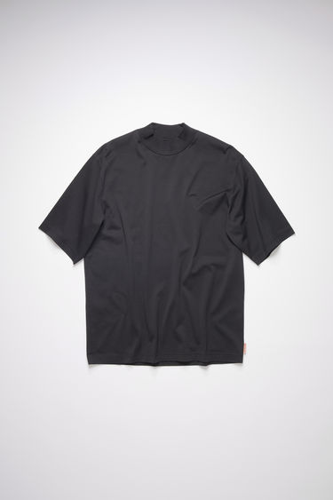 Acne Studios black mock neck t-shirt is made of cotton, featuring an Acne Studios logo tab on the lower side.