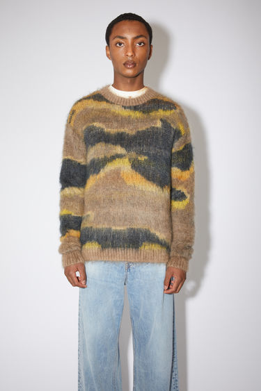 Acne Studios multi beige crew neck sweater is made of a mohair/alpaca blend, featuring a abstract jacquard design in tonal colours for a rainbow effect.