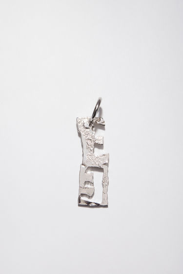 Acne Studios silver earring is crafted with a hammered pendant and features a stencil of the letter 'E', then secured via a hinge fastening.
