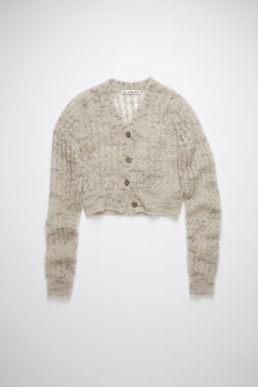 Acne Studios grey sweater is made of a sheer, open knit mohair blend with a cropped fit.
