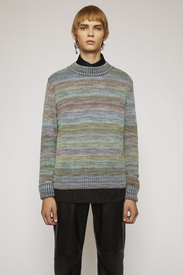 Acne Studios blue melange sweater is knitted in a distorted stripe pattern and finished with wide ribbing on the neck, cuffs and hem.