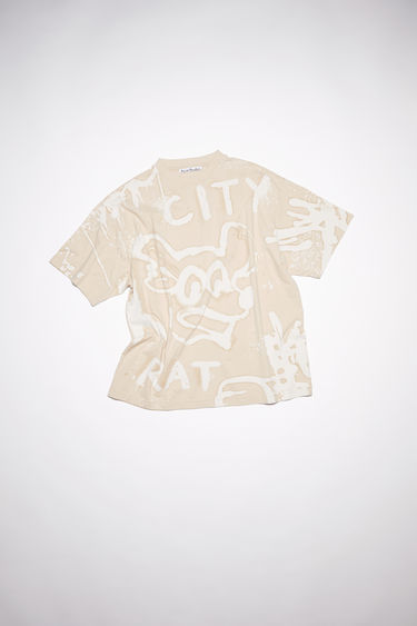 Acne Studios ecru beige crew neck t-shirt is made of organic cotton with an all over bleached print.