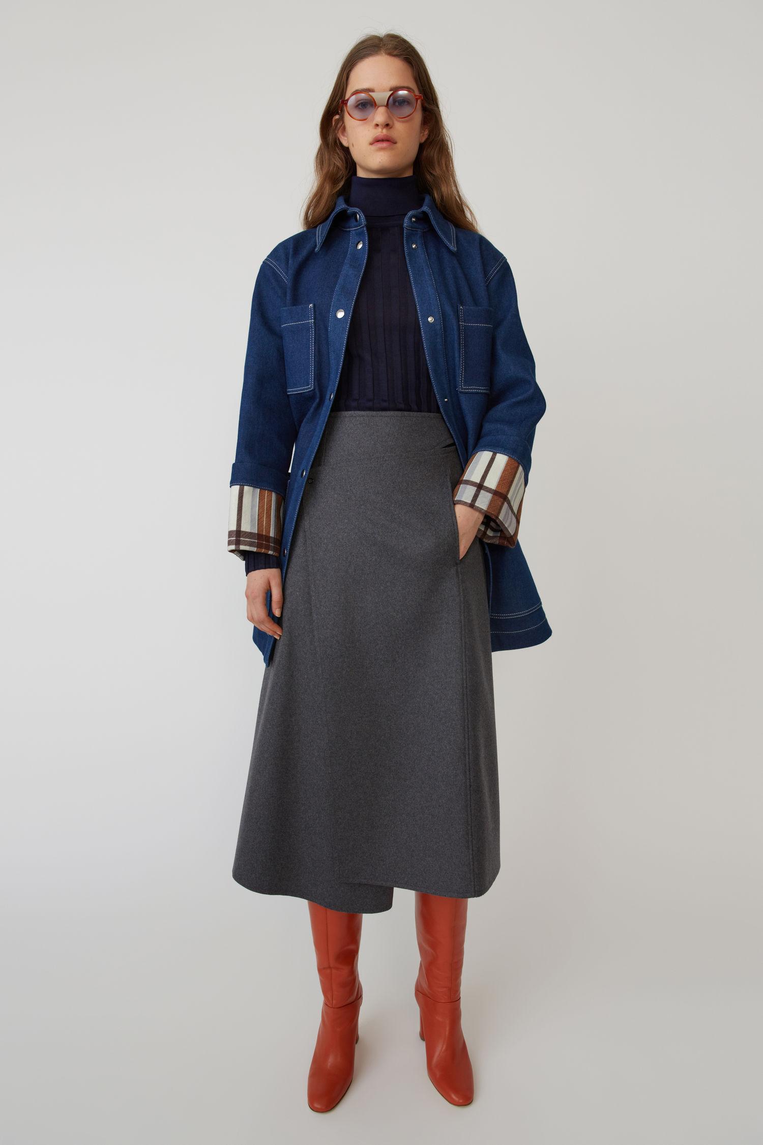 ACNE STUDIOS A-line wrap skirt grey melange