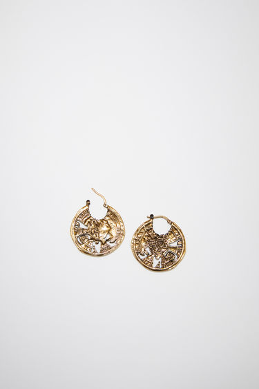Acne Studios antique gold pierced earrings features branded coins and are sold as pairs.
