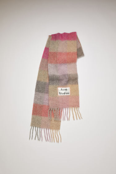 Acne Studios fuchsia/lilac/pink fringed scarf is woven in multi check pattern and detailed with a logo patch.