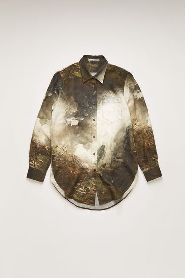 Acne Studios brown/white linen shirt is cut to a relaxed fit and features a painting of Swedish nature by August Strindberg. It features classic details, including a chest patch pocket, back yoke and a curved shirttail hem.
