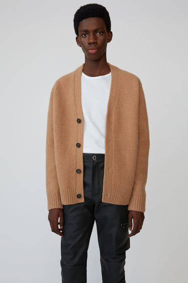 Acne Studios light brown cardigan is shaped to a relaxed fit with dropped shoulder seams.