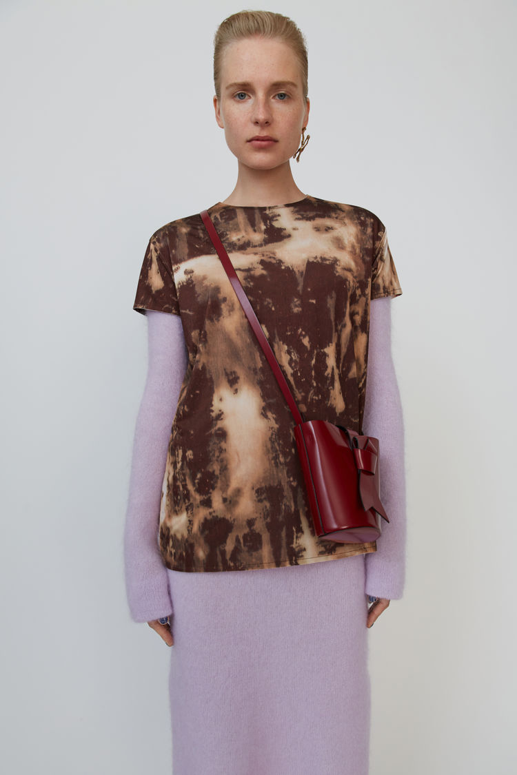 Printed T Shirt Beige/Burgundy by Acne Studios