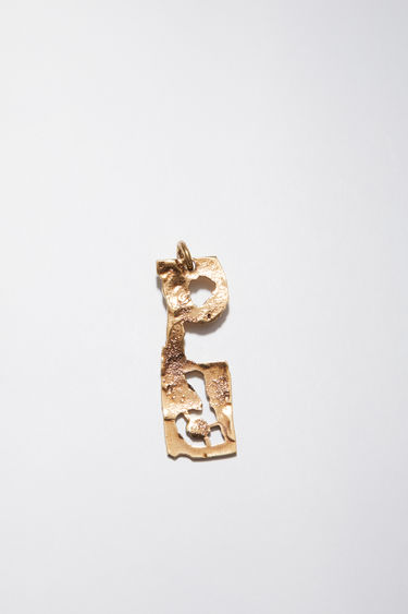 Acne Studios pendant is crafted from a hammered gold-tone brass and features a stencil of the letter 'P'  The pendant can be personalised with a chain necklace.