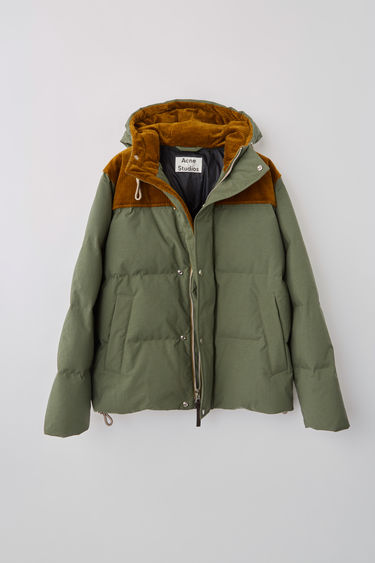 Acne Studios khaki green boxy fit Hooded down jacket finished with hidden ribbed cuff and internal technical drawcord.