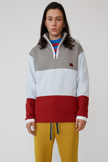 Acne Studios light grey melange block coloured zip fleece with flag artwork and face patch.