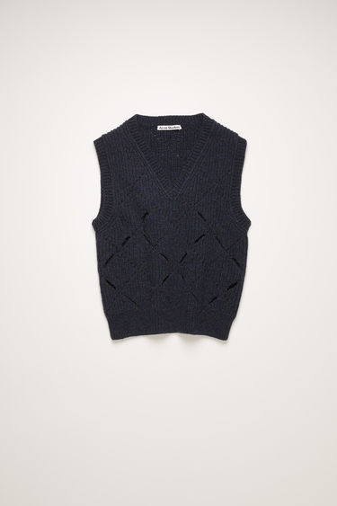 Acne Studios dark blue argyle gilet is knitted from soft lambswool with a ribbed pattern and features fully-fashioned diagonal slits throughout the body.
