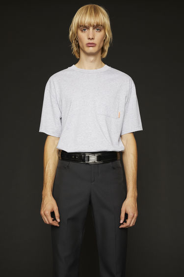 Acne Studios pale grey melange t-shirt is cut to a boxy silhouette from soft cotton jersey and completed with a ribbed collar and a chest patch pocket.