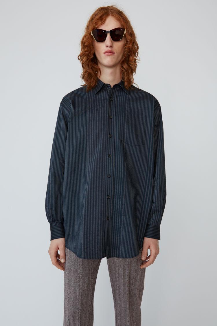 Oversized Striped Shirt Navy/Grey by Acne Studios