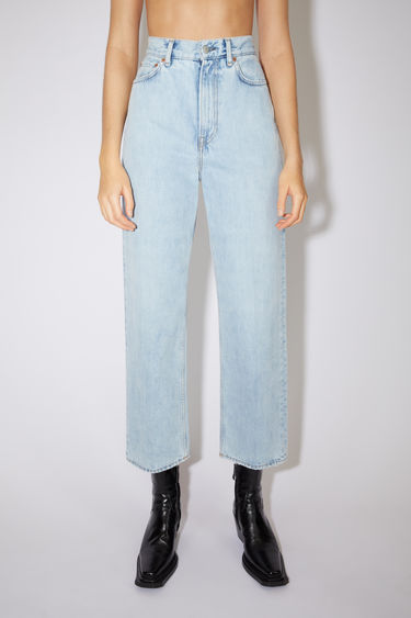 Acne Studios light blue jeans are made from rigid denim with a super high rise and a relaxed, tapered leg.