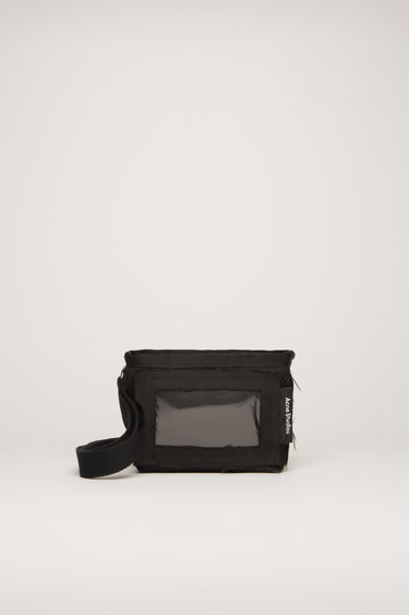 Acne Studios black pouch is crafted to a boxy shape with a transparent card pocket on front and features a long detachable lanyard