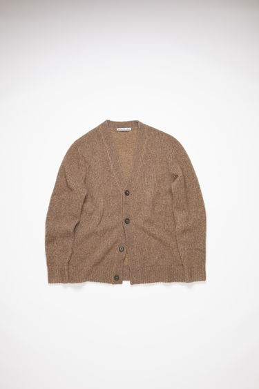 Acne Studios mink brown v-neck cardigan sweater is made of a luxurious cashmere/wool blend with rib knit details at the cuffs and hem.