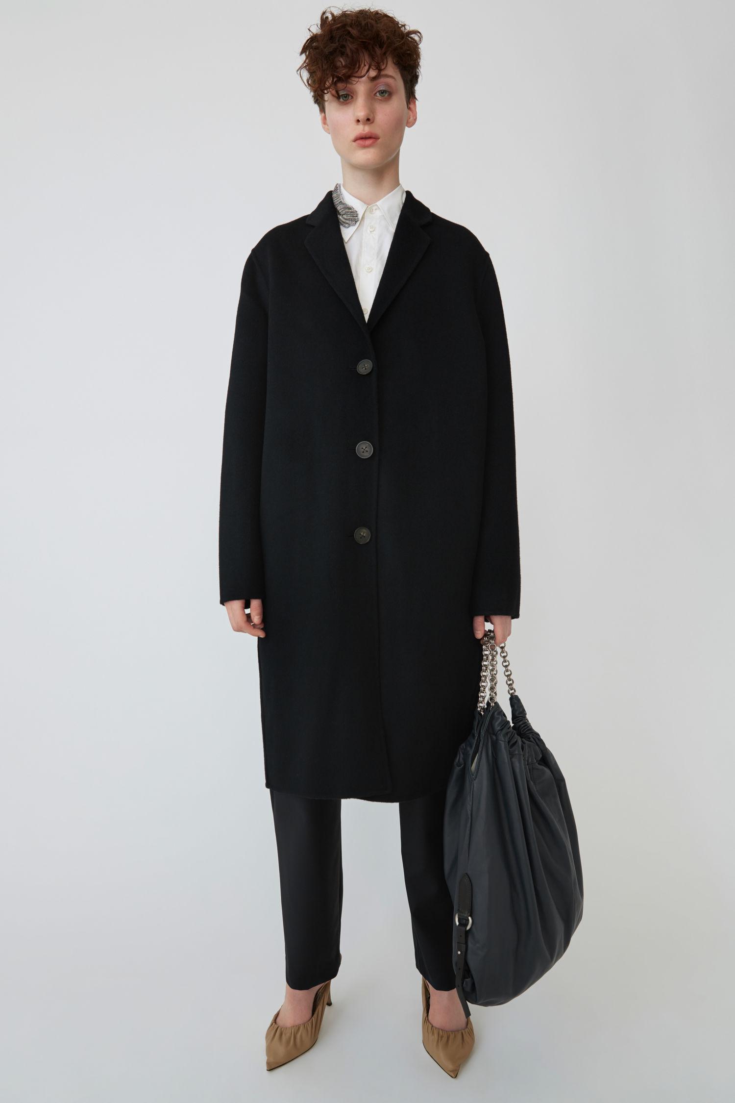 Masculine Tailored Long Coat Black