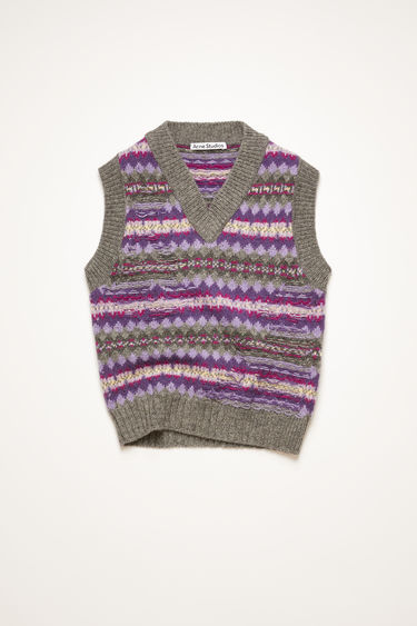 Acne Studios purple/grey multi gilet is knitted in a traditional Fair Isle pattern from soft British lambswool. It's crafted with a ribbed v-neck and features reverse stitched details.